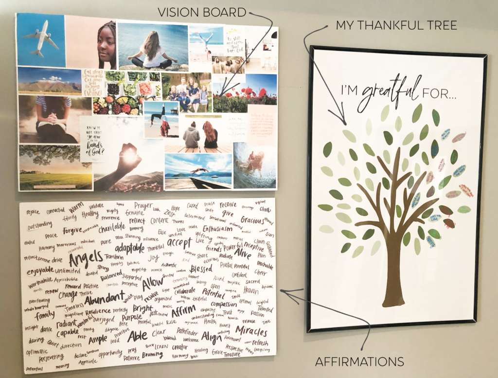 My Wall and thankful tree that I created as I was working through postpartum depression.